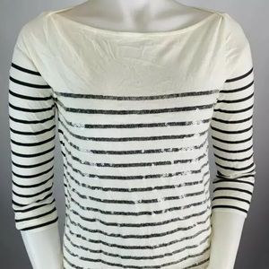 J. Crew Sequined Striped Tee Shirt